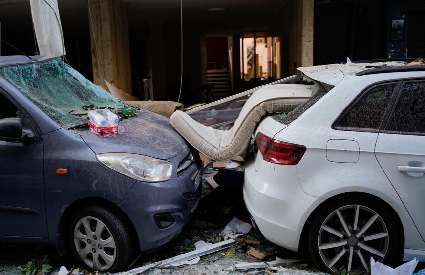 A damaged vehicle in Beirut, thousands of apartments and shops in Beirut were damaged due to the explosion