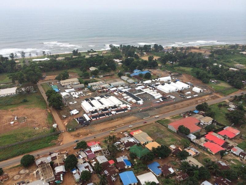 Aerial view on ELWA 3, MSF's Ebola Management Centre in Monrovia, Liberia.