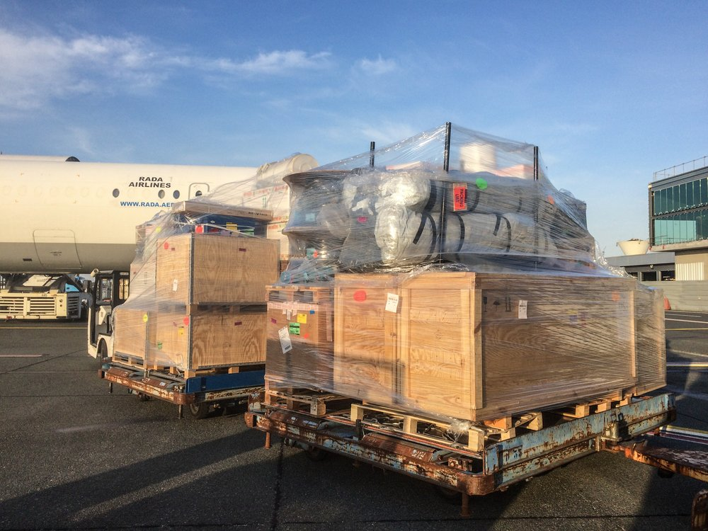 MSF teams are loading medical equipment including inflatable hospital in Merignac airport on 21 March 2020 to be sent to Isfahan, Iran to respond to the Coronavirus pandemic.