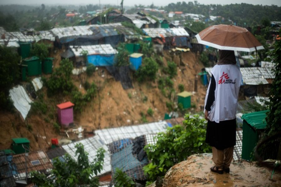 MSF staff Tanbin Muftah observes from a high point the Jamtoli refugee camp in Cox's Bazar, south-east Bangladesh.