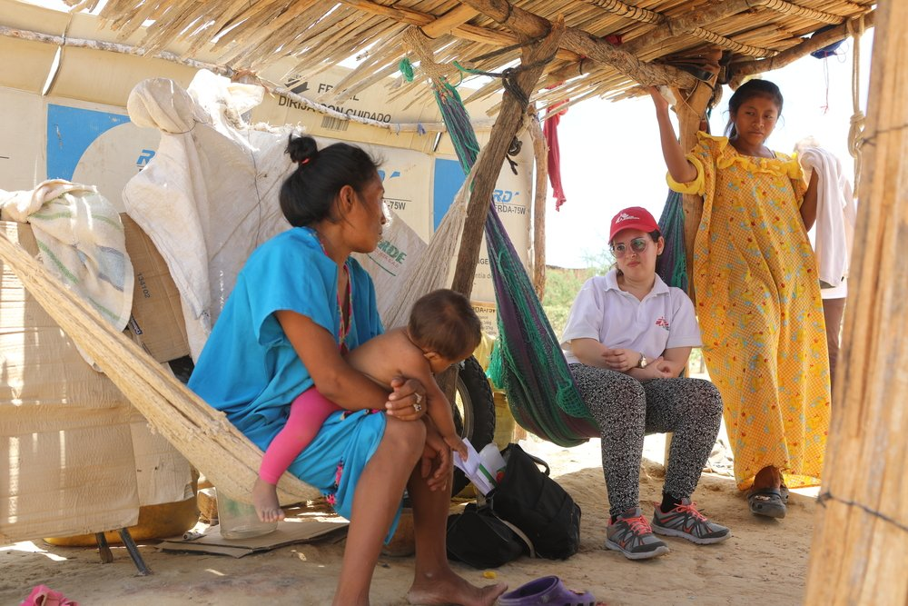 Venezuelan migrants and indigenous Wayuu in a settlement in Uribia, La Guajira, where MSF runs a mobile clinic. Colombia, August 2019.