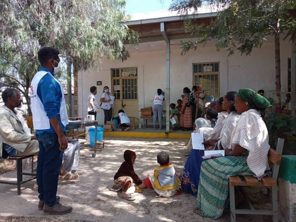 Patients wait for consultation during an MSF mobile clinic in Megab, south-west of Adigrat town, in the Tigray region of northern Ethiopia.