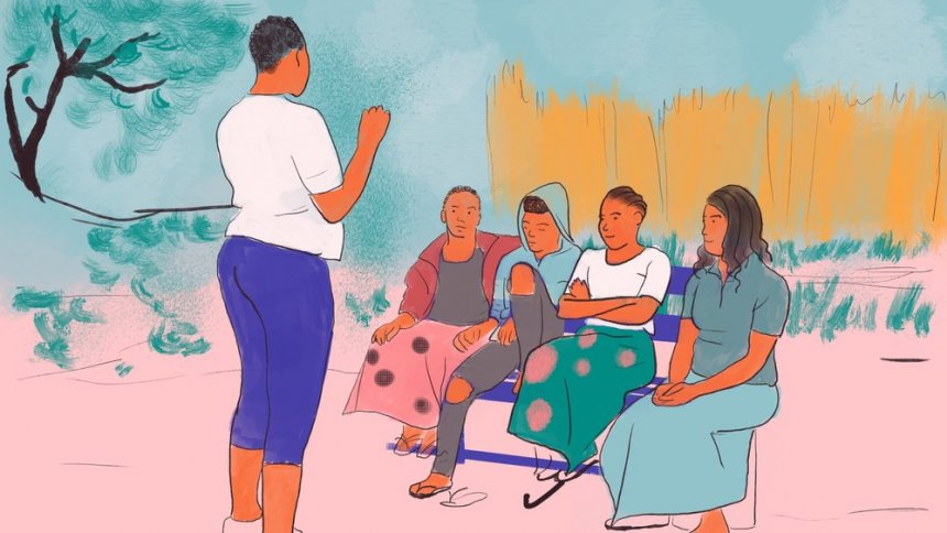 Illustration of a trained peer educator talking with women in her community about self-care.