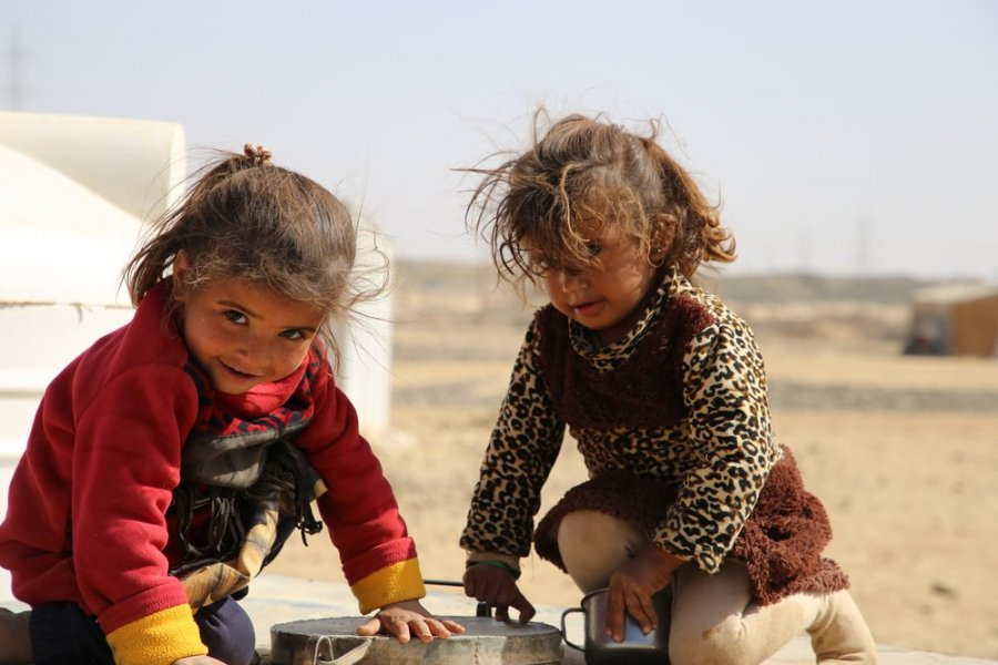 Gaeza on the left and her cousin are displaced from Sweida camp in Marib.