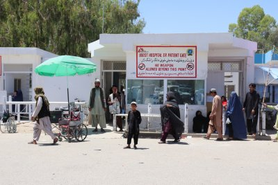 People in front of the main gate of Boost hospital, Boost hospital, Lashkar Gah
