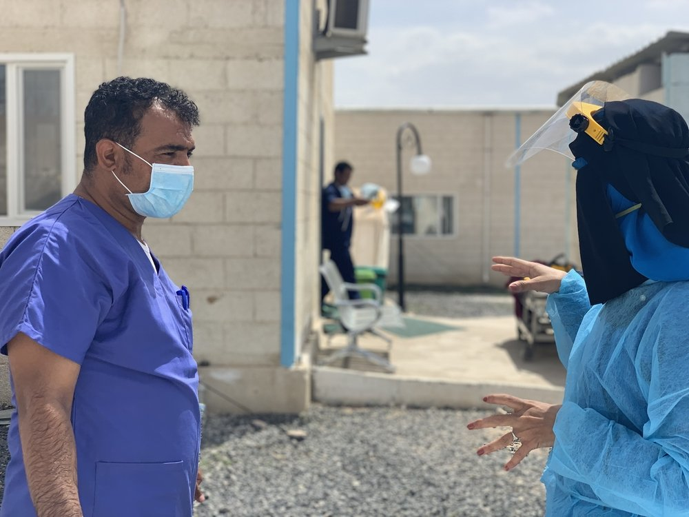 Muthanna,  MSF supervisor of infection control and prevention supervisor, follows up and remind the staff on daily basis of wearing protection equipment in a proper manner and maintain handwashing practice, as well as waste disposal and disposal of used s