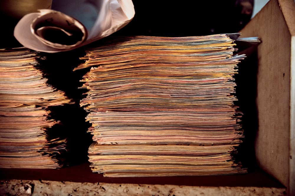 Files of survivors of violence collected by Étienne Oumba. Among the 3,000 victims he has identified so far, 700 are women survivors of sexual and gender-based violence.
