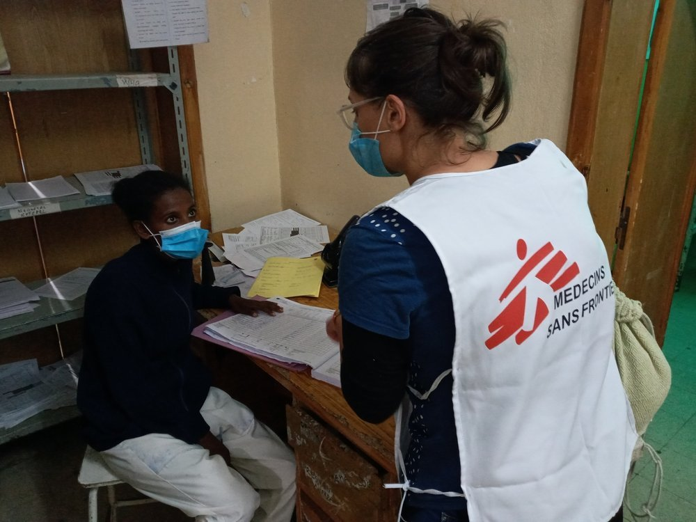 Two MSF medical staff talk in a room of Adigrat hospital, in Tigray, northern Ethiopia.