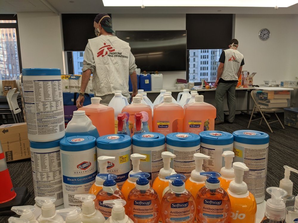 MSF's COVID-19 project team prepares handwashing and sanitation supplies for distribution to organizations serving people who are homeless and housing insecure in New York City.