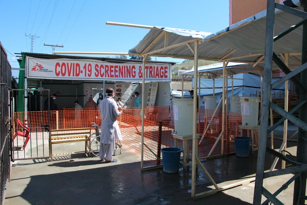 A view of the COVID-19 screening system installed by MSF at Timergara DHQ hospital in Lower Dir.
