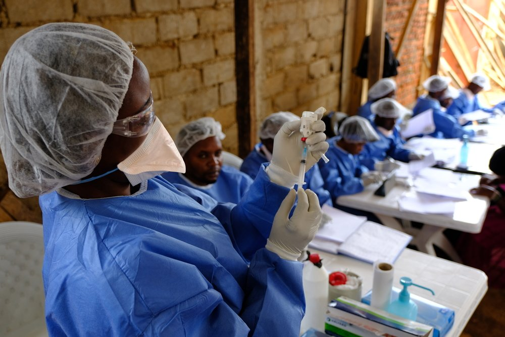 Ebola vaccination team at the MSF-supported health centre of Kanzulinzuli, in Beni, DRC.