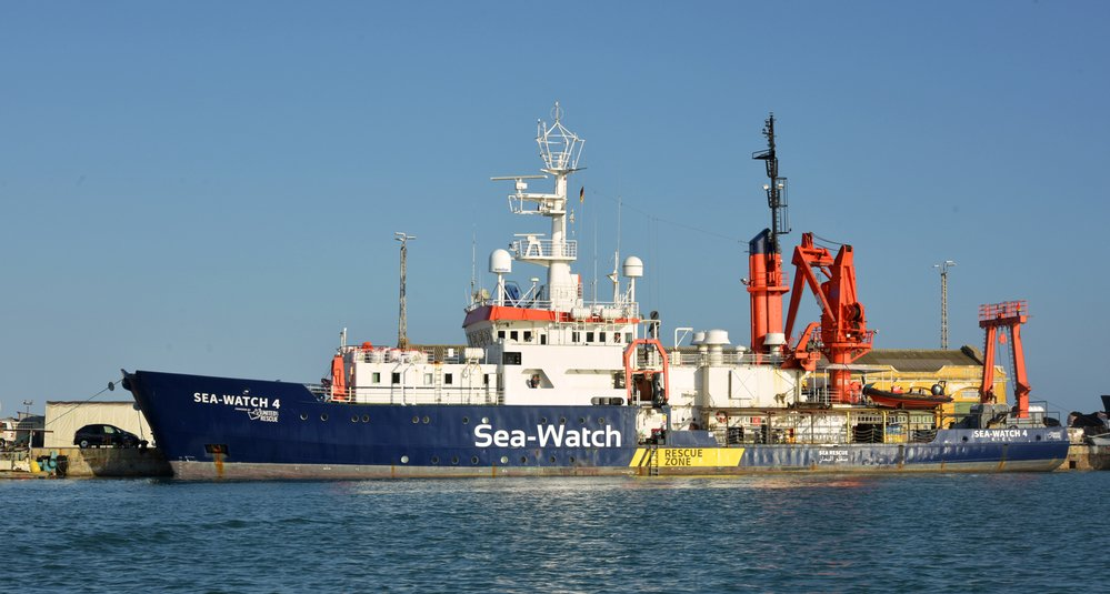The Sea-Watch 4 in the port of Burriana, Spain, as it prepares to embark on its first lifesaving mission to the Central Mediterranean