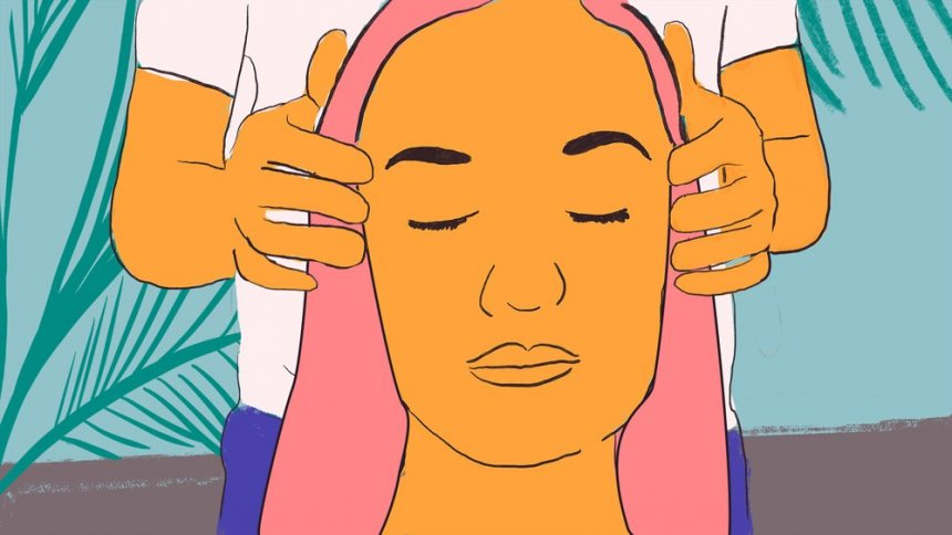 Illustration of a woman having her head massaged.