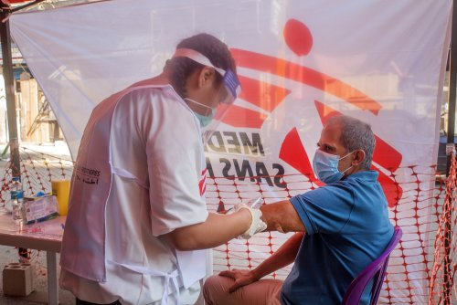 MSF tent in Mar Mikhael neighborhood to to provide medical support to the people affected by the explosion.