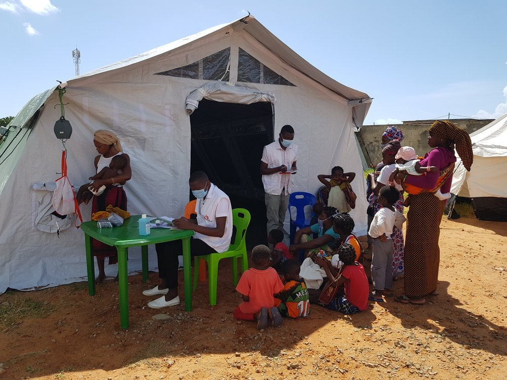 MSF's tent at the Stadium, where the government is offering temporary shelter to IDPs that have arrived from Palma. MSF provides health consultations every Tuesday and Thursday.