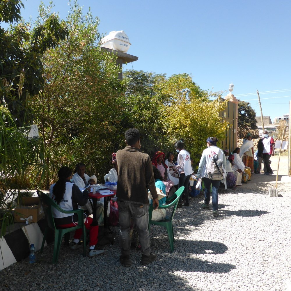 MSF staff triage patients during a mobile clinic in Hawzen, northeast Tigray.