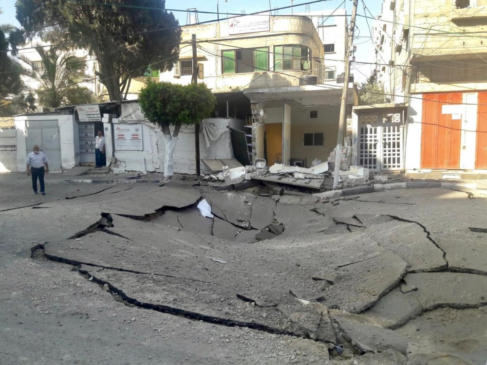Damage to MSF clinic in Gaza. 16th May 2021.