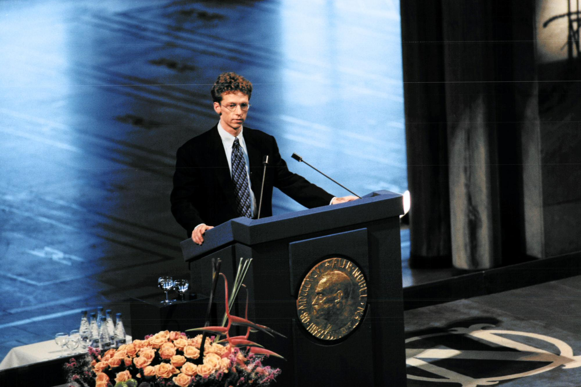 Dr. James Orbinski making a Nobel Prize acceptance speech at a podium